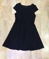 George Smart Black Short Cap Sleeves Dress Gold Studs To Neckline Size 14