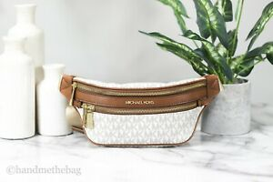 Michael Kors Kenly Small Vanilla Signature Belt Waist Fanny Pack Crossbody Bag