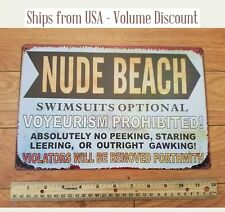 Nude Beach Sign Funny Pool Sign Funny House Sign Nude Sign Metal Nude Beach Tin