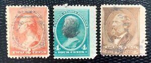 1881 US Stamps SC#210, 211, 205 Washington Used CV:$41