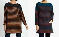 Seasalt 3/4 Sleeves Round Neck Striped Sweatshirt Jumper Tunic Top 8 10 12 14