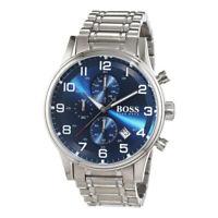 100% New Hugo Boss 1513183 Aeroliner Blue Dial Stainless Steel Quartz Mens Watch