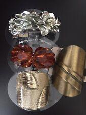 Vintage Lot Metal  Plastic Pony Tail Cuff Clip Barrette Gold Color