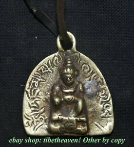 5CM Old Tibet Brass Buddhism Yellow Jambhala Wealth God Buddha Amulet Pendant