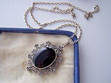 FABULOUS VINTAGE LARGE SOLID STERLING SILVER ONYX PENDANT BROOCH UNUSUAL