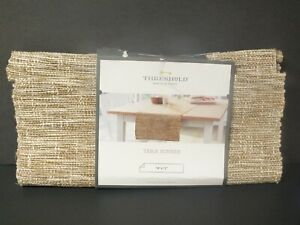Threshold Brown Natural Woven Hemp Cotton Table Runner 14 x 72 in