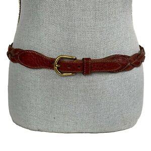 Designer Sz 36 Brown Braided Vachetta Leather Belt Made in Haiti Oxblood Brown