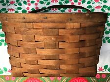 Viintage antique woven bicycle basket leather strap