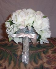 Flower girl Bouquet White roses with crystal and a satin bow handmade