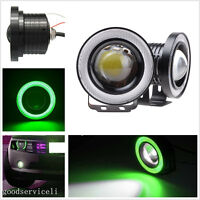 2 Pcs High Power 3200LM Green LED COB Angel Eye Halo Car Off-Road DRL Fog Lights