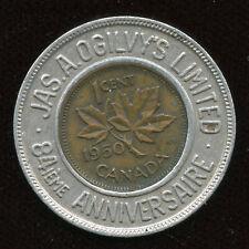 Jas. A. Ogilvy's Ltd. 84th Anniversary Canada - 1950 Good Luck Encased Penny