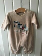 Baby Boy's Clothes 0-3 Mths - Beige Velour Bear Theme One-Piece Outfit 🐼🐼🐼