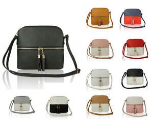 UK New Ladies Small Shoulder bodyCross Messenger Tassel Handbag Bag Front Pocket