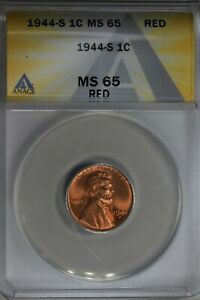 1945  .01  ANACS  MS 65 RB  Lincoln Head Cent, Lincoln One Cent