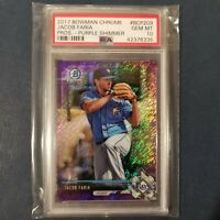 2017 Bowman Chrome Prospect JACOB FARIA Purple Shimmer Rays Rookie PSA 10 POP 1