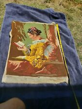 VINTAGE EMBROIDERY NEEDLEPOINT TAPESTRIES ANTIQUE ART DECO from EUROPE STUNNING