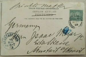 CEYLON 1903 GREETINGS PICTURE POST CARD TO GERMANY WITH EXCISED TAX MARK