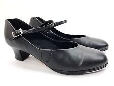 CAPEZIO Tele Tone Tap Dance Shoes Black Leather Mary Jane Heels Womens sz 8.5 M