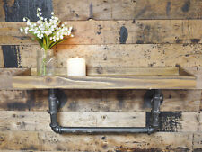 Industrial Pipe Floating Wall Shelf Vintage Wooden Storage Shelving Unit 60cm