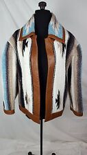 Southwestern Native American Navajo Oversized Leather Trim Coat Jacket L