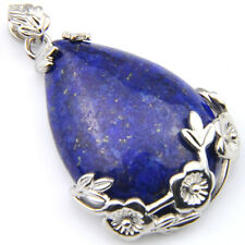 Woman Sterling Silver Plated Lapis Lazuli Gemstone Silver Necklace Pendants