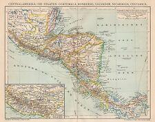 B6236 America Centrale - Carta geografica antica del 1901 - Old map