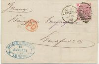 "2427 1873 QV 3d rose pl.9 with wing margin env Duplex-cancel ""LONDON / 87"""