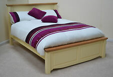 Salisbury Cream Painted Wood & Oak 4ft6 Double Bed Farrow & Ball Slipper Satin