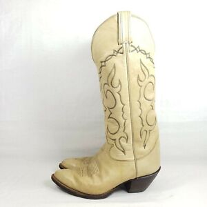 Tony Lama Western Riding Boots Men's Size 8 D Cream Leather