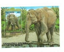 Maldives - 1993 Endangered Species - Elephants - Souvenir sheet - MNH