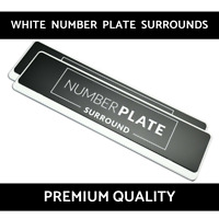 2 x Premium White Stainless Steel Number Plate Surround Holder for Ferrari