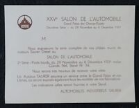 Invitation Salon Automobile 1931 Camion SAURER truck automobilia french catalog