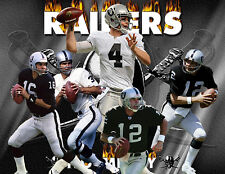 Oakland Riaders Lithograph print of Raiders Greatest QBs 17 x 11