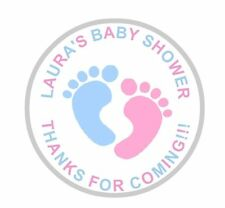 36 Personalised Round Baby Shower Stickers Labels Pink And Blue