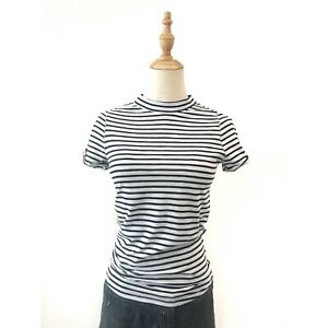 Free People We the Free Blue Striped Mock Neck Top T-Shirt Small