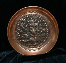 Vintage Handcrafted Engraved Asian Copper Ibis Birds Plate Cranes Nature Scene