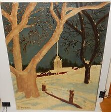 ALICE FICKLIN OLD 19TH CENTURY CHURCH SNOW LANDSCAPE FOLK ART PAINTING