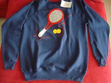 NWT blue sweatshirt with fun tennis racquet and ball design. Hanes. Medium. Wome