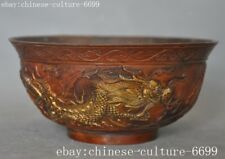 "5""Marked old Chinese bronze Dragon Loong dragons Dynasty palace Tea cup Bowl"