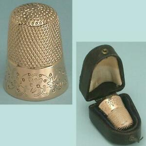 Antique 14 Kt Gold Floral Band Thimble in Leather Case * American * Circa 1900s