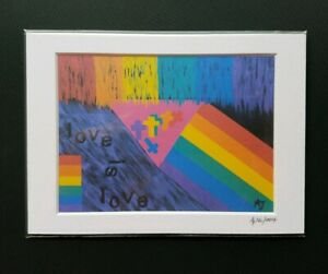 Love is Love Rainbow Flag LGBT Abstract Art Print. Art by AJ - Prints by Patmore