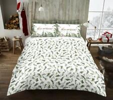 Christmas Xmas Honesty Leaf Duvet Quilt Cover Bedding Set Green White
