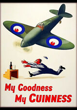 MY GOODNESS MY GUINNESS BEER FIGHTER AIRPLANE VINTAGE TRAVEL AD ART PRINT POSTER