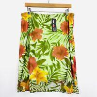 Vintage Y2K Womens Skirt Floral Hawaiian Boho Lettuce Hem Size 16 fit 14 NWT