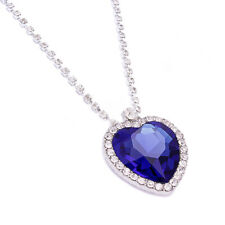 Le donne TITANIC Blue Heart of Ocean Cristallo Diamante Collana Ciondolo per le donne