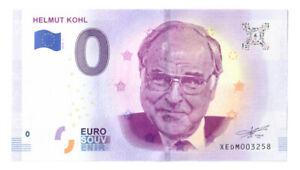 0 Euro Schein Helmut Kohl XEDM 2018-1 Souvenirschein Souvenir Null € Banknote
