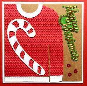 Handmade By Susie OOAK Embossed Christmas Jumper Card Topper FLAT RATE UK P&P