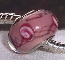 Brown Pink Flower Glass Charmadillo Jewelry Bead fits European Charm Bracelets