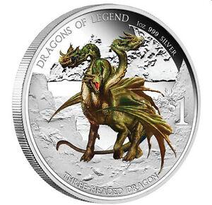 Tuvalu 2012 Dragons of Legend #4 Hydra Three 3 Headed Bulgarian Dragon $1 Silver