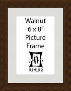 "Handmade Walnut Dark Brown Wooden Picture Frame With Mount - 6x8"" by Behind T..."
